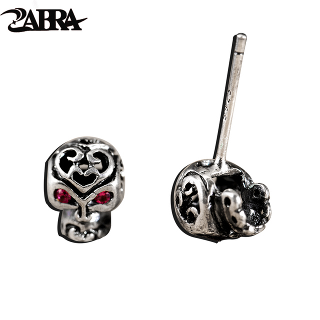 925 Sterling Silver Jewelry Punk Skull Studs Set For Hiphop Boys And S Vintage Real Earrings Korean Skeleton Type