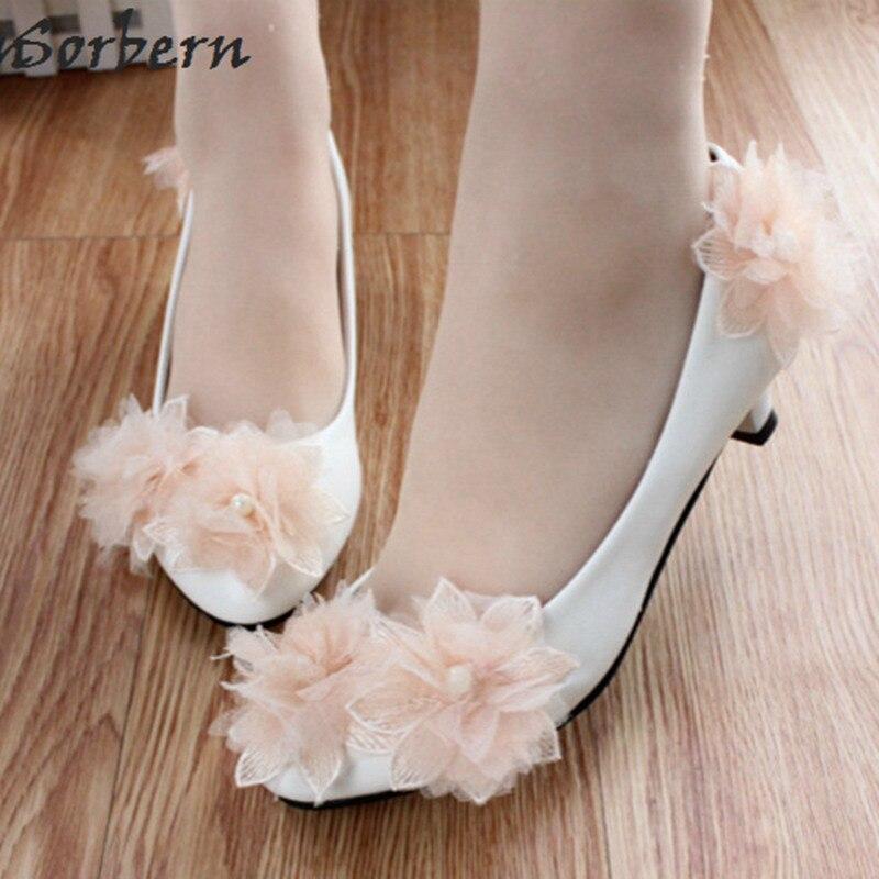 9c6dd595b Sorbern/свадебные туфли на среднем каблуке с цветами шампанского; туфли-лодочки  для невесты с милыми белыми цветами; Свадебная обувь; женская о.