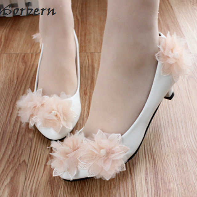 Sorbern Champagne Flowers Med Heel Wedding Shoes Pumps For Brides Cute White Bridal 3cm