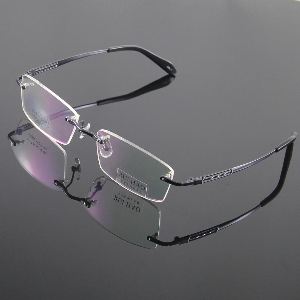 7cd0165f4ffe7 100% Titanium Eyeglasses Frame Eyeglasses Men Design Rimless Glasses  Optical Spectacles Eyewear Frames oculos of grau 8926