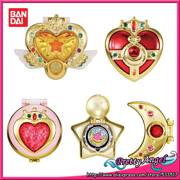 Original Bandai Sailor Moon Vol.2 Gashapon 20th Anniversary Sailor Moon Henshin Compact Mirror Set of 5 PCS high moon vol 01