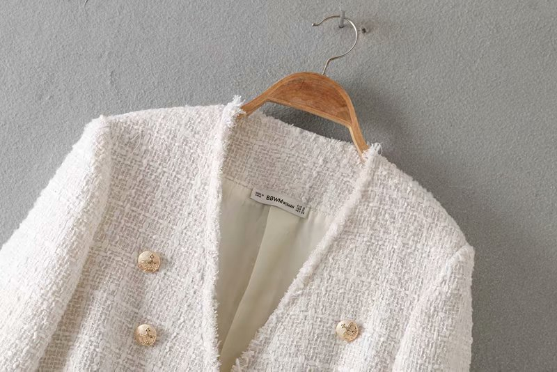 Women elegant white coat double breasted V neck buttons jacket office wear female casual outwear top Women elegant white coat double breasted V neck buttons jacket office wear female casual outwear top blusas 9200
