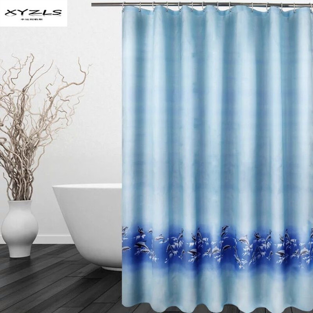 XYZLS 2017 Modern Cartoon Dolphin Shower Curtain Waterproof Mold Proof Polyester Bathroom With Hooks Products