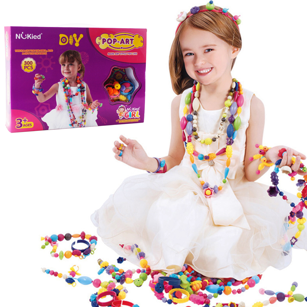 Pop Beads Girls Toy - 300 Pieces DIY Jewelry Kit Fashion Fun For Necklace Ring Bracelet Art Crafts Toys For Kids