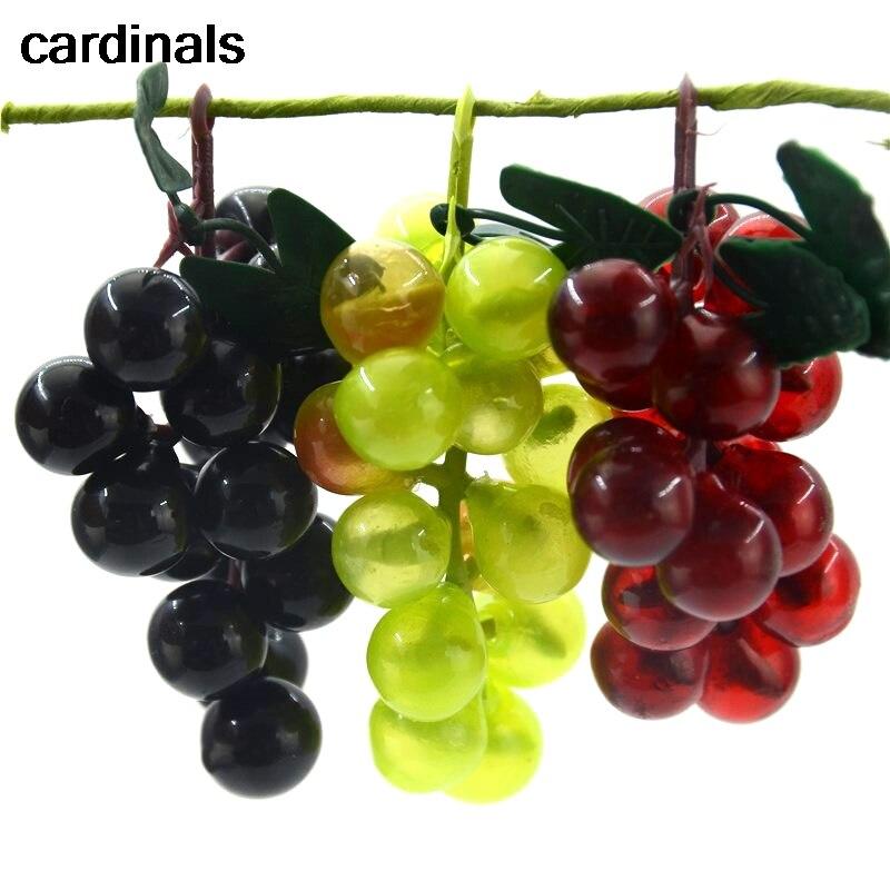 3pcs Artificial Fake Green Grapes Plastic Fake Decorative Fruit Lifelike Home Wedding Party Garden Decor Mini Simulation Fruit