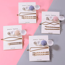 4pcs/Set Korea Metal Pearl Irregular Lattice Hair Clip Women Hairpin Barrettes Girl Wedding Party Hair Accessories(China)