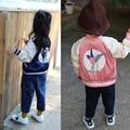 Crianças Jaqueta de Outono Do Bebê Das Meninas do Menino Jaqueta Casaco Stella A Andorinha Bordado Meninos Parka Jaquetas Com Zíper Casaco Crianças Roupas