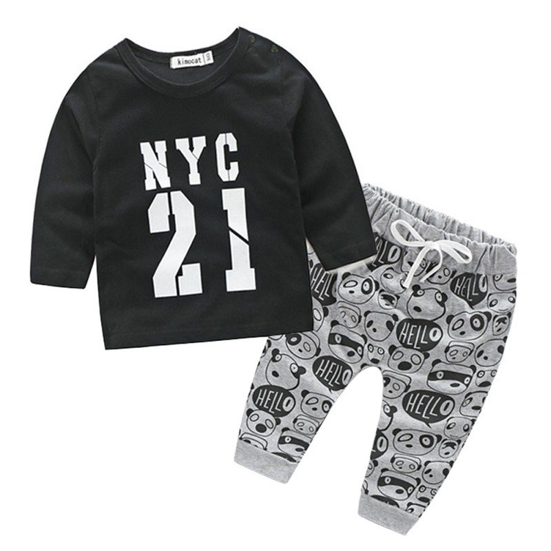 0-24M Infant Baby Girls Boys Autumn 2 Pcs Sets Tops + Pants Fall Bears Printed Set Children Clothes fashion style for girls of chiffon long sleeves tops with stars printed jeans pants in autumn sets children s clothes st316