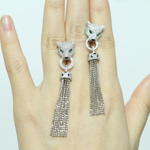 Silver Drop Panther Earrings For Women White Cz Diamons Leopard Pure 925 Sterling