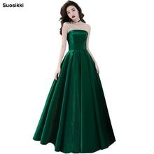 Купить с кэшбэком Sexy Strapless Sleeveless 2018 Suosikki Evening Dress Bride Banquet Formal Party Gowns Vestidos