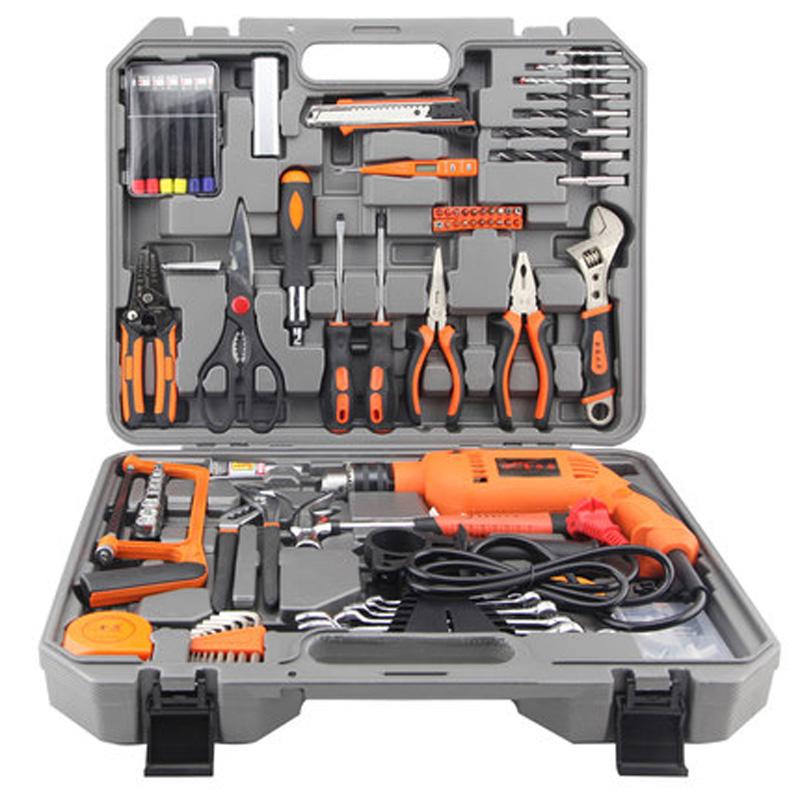 100 pcs multifunctional hardware tools box kit household electric maintenance set carpenter hydropower toolbox with 220V drill цена