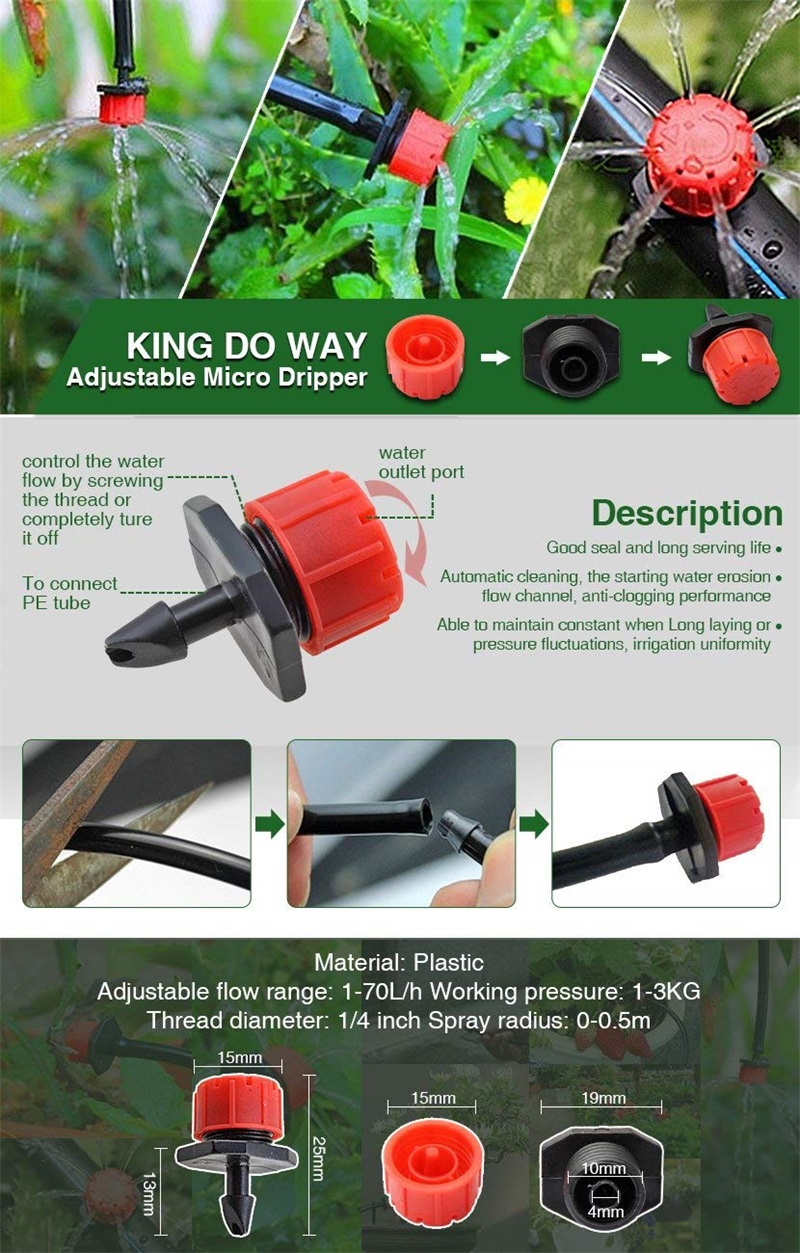 HTB1353 CL5TBuNjSspcq6znGFXaT 200Pcs Adjustable Micro Drip Irrigation System Watering Sprinklers Anti-clogging Emitter Dripper Red Garden Supplies