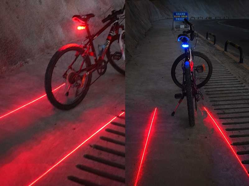 2 Laser 5 LED Bike Bicycle Cycling Safety Rair Tail Flashlight Lamp with Mount