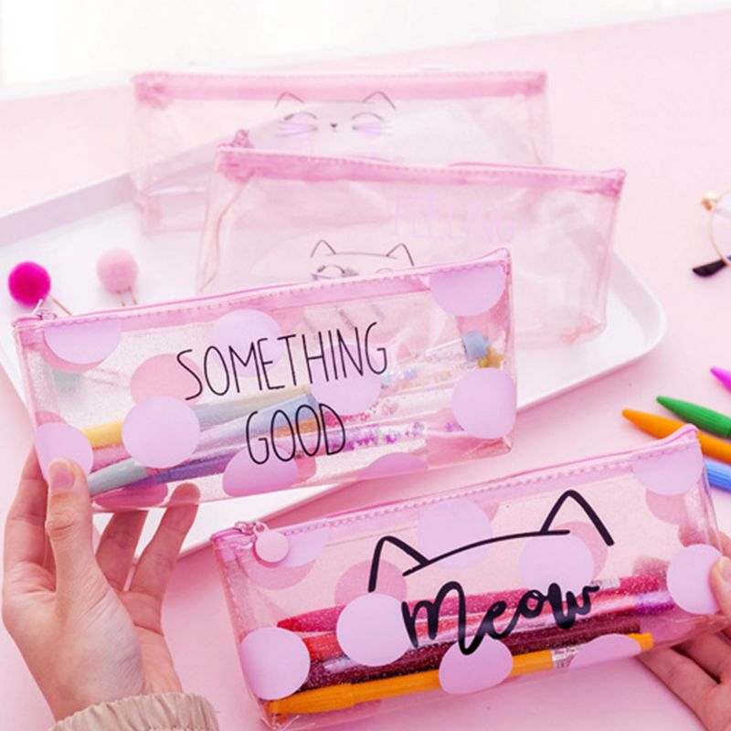 Cartoon Cat Pink Transparent PVC Pen Bag Pencil Storage Case Students Kids Girl School Supply Gift