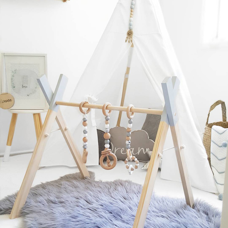 Nordic Style Baby Gym Play Nursery Sensory Ring-pull Toy Wooden Frame Infant Room Toddler Clothes Rack Gift Kids Room Decor(China)
