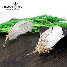 Nuevo Diseño de la Pluma Rama Perla Wedding los Accesorios Del Pelo de La Vendimia Barroco Diadema Hairwear Boda