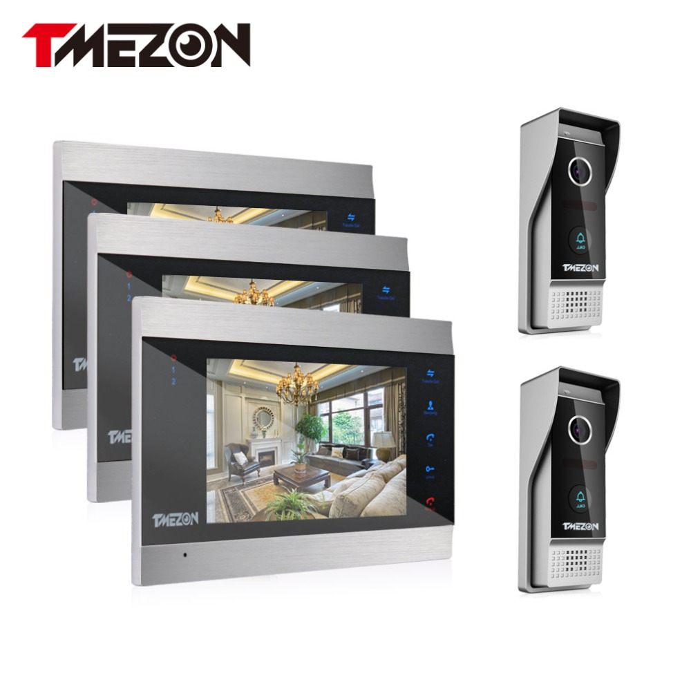 Tmezon Video Door Phone System 3Pcs 7 Color Monitor 2Pcs 1200TVL Outdoor Doorbell Camera Waterproof Auto-IR Night Vision 3v2 tmezon 4 inch tft color monitor 1200tvl camera video door phone intercom security speaker system waterproof ir night vision 4v1