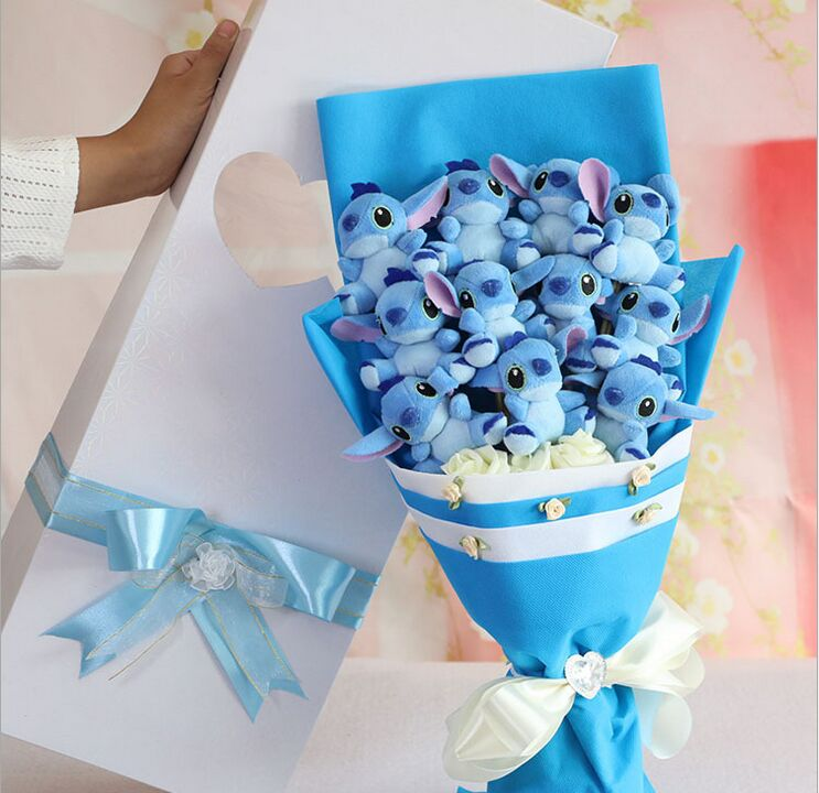 Kartun Buatan Tangan Stitch Hadiah Festival Bouquet Untuk Hari Valentine Natal Hadiah Ulang Tahun Kotak Hadiah Cantik Gift Bouquets For Bouquetsstitch Bouquet Aliexpress