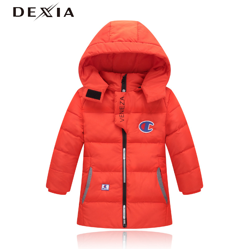 DEXIA 2018 Winter  Down Clothes Child Hoodies Thick Jacket Snow Outerwear White Duck Down Jackets High Quality Boys Winter Coats top quality fashion parent child 90% white duck down jacket medium long mother and son hooded cotton padded down family coats