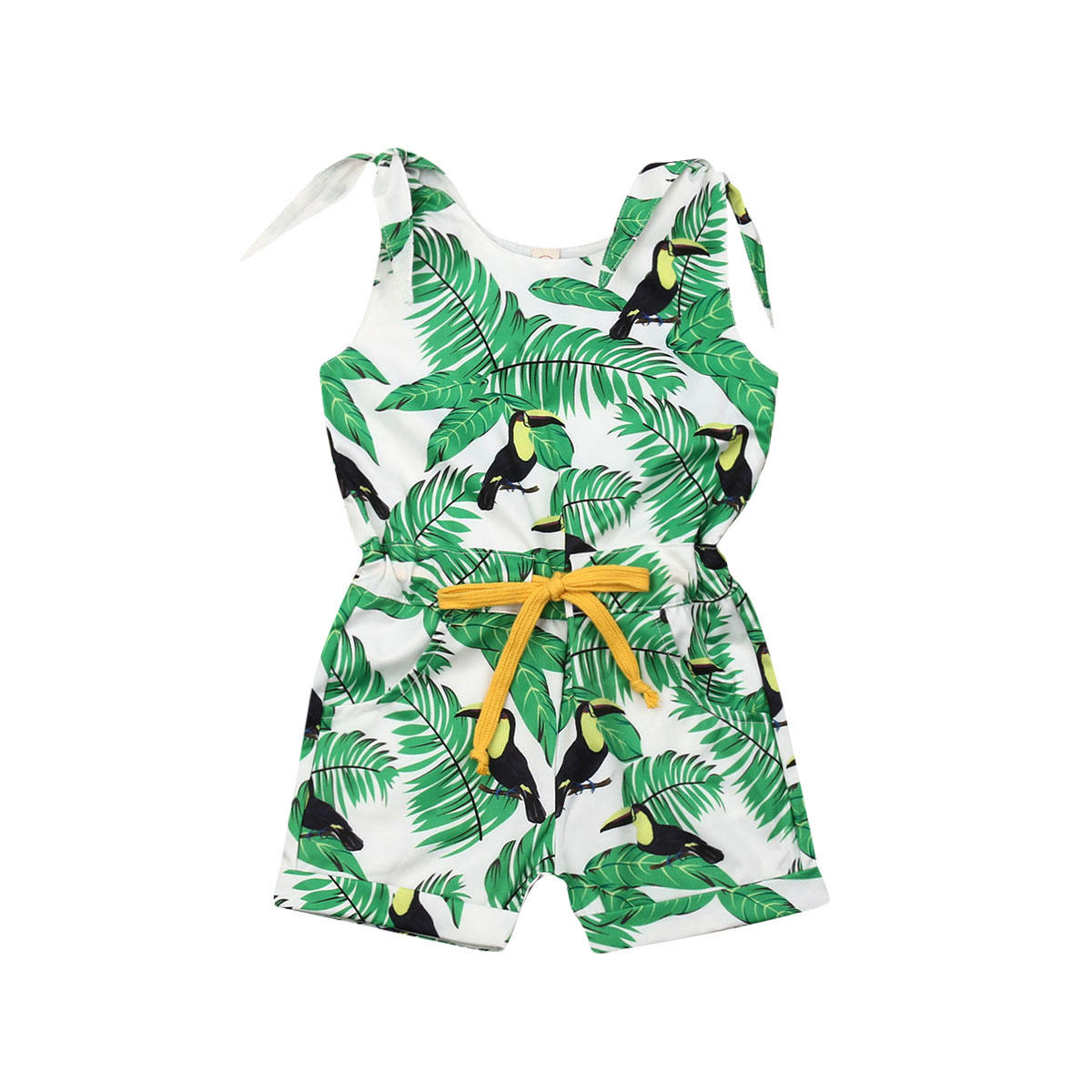 2019 New Infants Baby Girls Kids Summer Sling   Romper   Clothes Sleeveless Leaves Flowers Print Bow Jumpsuits Outfit 1-6Y