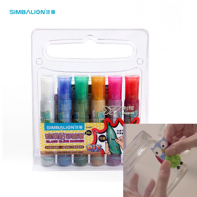 Simbalion Glass Cling Marker Window Color DIY Decoration 6 Metallic Colors Gold/Silver/Green/Pink/Blue/Red жалюзи ming window decoration