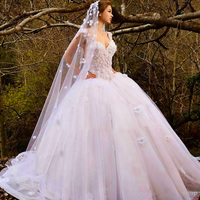 New Arrival Sweetheart Off Shoulder Ball Gown Tulle With Lace Wedding Dress 2018 Bridal Gowns Flower Puffy Wedding Gowns