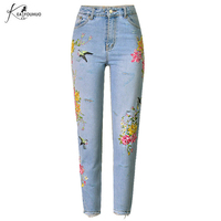 Autumn 2018 Flowers Embroidered Jeans Woman Pants Denim Mom Boyfriend Jeans For Women High Waist Straight Jean Femme Trousers