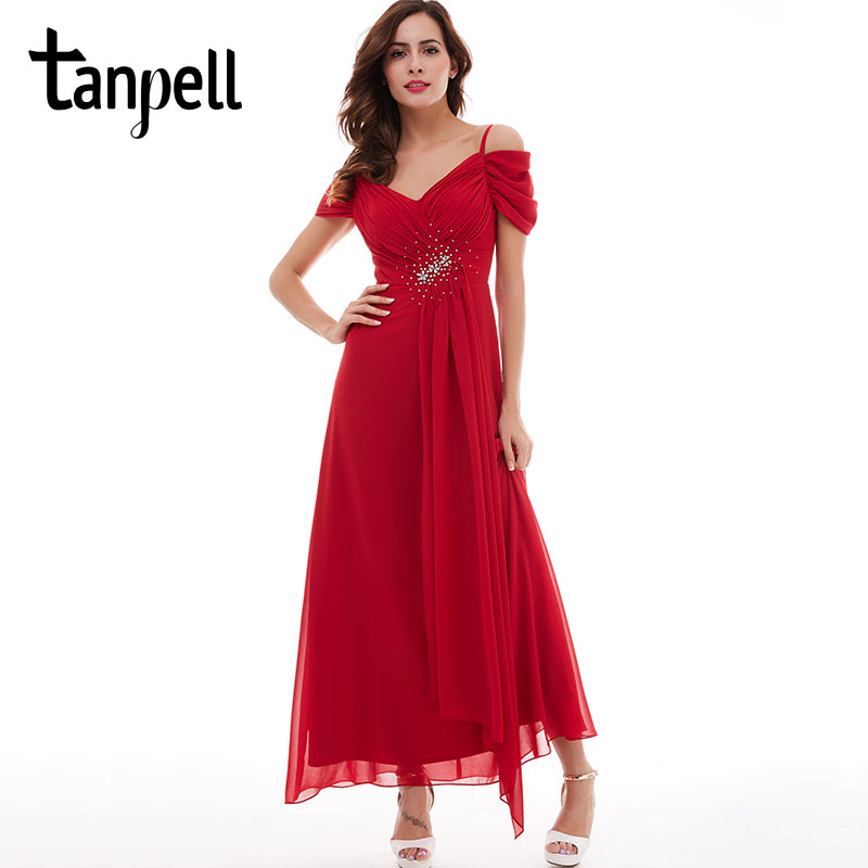 Tanpell spaghetti straps prom dress red short sleeves ankle length A-Line ruched dress cheap draped beading long prom dresses