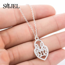 SMJEL New Heart Pendants & Necklaces Geometric Lock Shape Necklaces for Women Stainless Steel Jewelry Choker Femme(China)