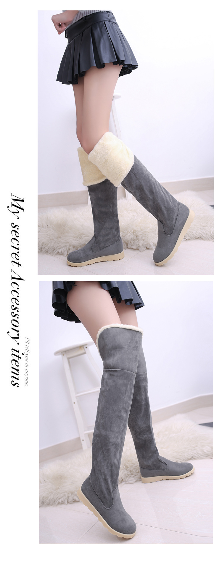 a29c1cc1cd3 Winter long Fur Snow Boots Black Women Suede Over the Knee Shoes Female  Tube Long Boots Tenis Feminino Zapatos Mujer