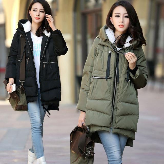 Maternidad invierno Militar moda con capucha espesar Abrigos de ...