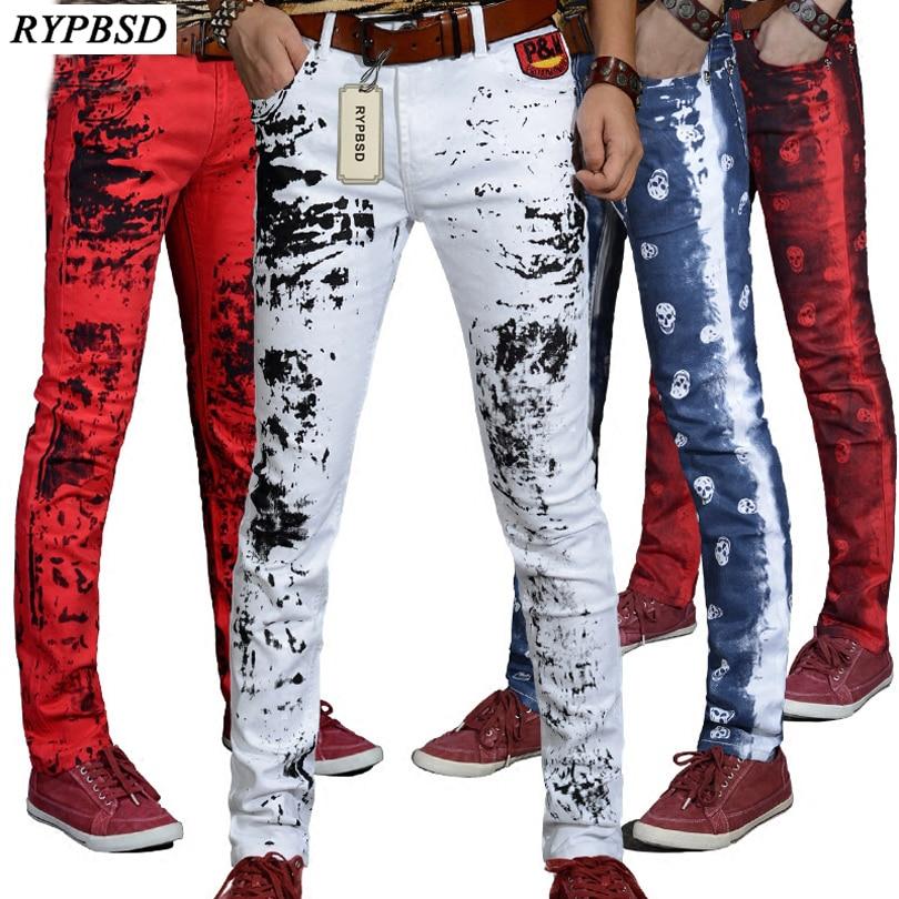 2019 Autumn New ink Splashes Harajuku Printed Red Skull Dragon White Jeans Pants Men Skinny Cotton Casual Hip Hop Trousers Men