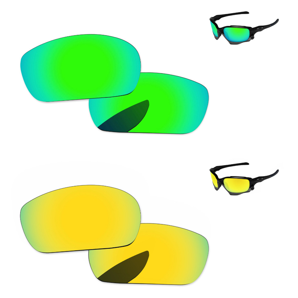 24K Golden & Emerald Green 2 Pairs Mirror Polarized Replacement Lenses For Jawbone Sunglasses Frame 100% UVA & UVB Protection
