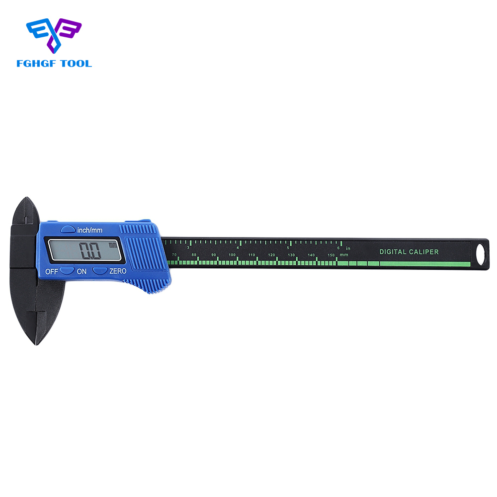 FGHGF Carbon 150mm 6inch LCD font b Digital b font pachometer Electronic Carbon Fiber Vernier font