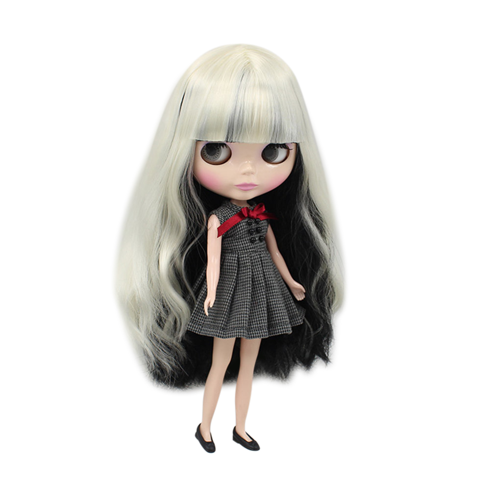blyth doll normal body white and black with Bangs long hair BL3131 9601 factory blyth girl