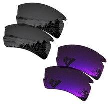 SmartVLT 2 Pairs Polarisierte Sonnenbrille Ersatz Linsen für Oakley Flak 2,0 XL Stealth Schwarz und Plasma Lila