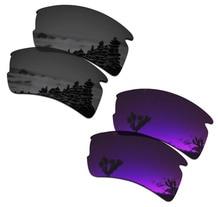 SmartVLT 2 Pairs Polarized Sunglasses Replacement Lenses for Oakley Flak 2.0 XL Stealth Black and Plasma Purple