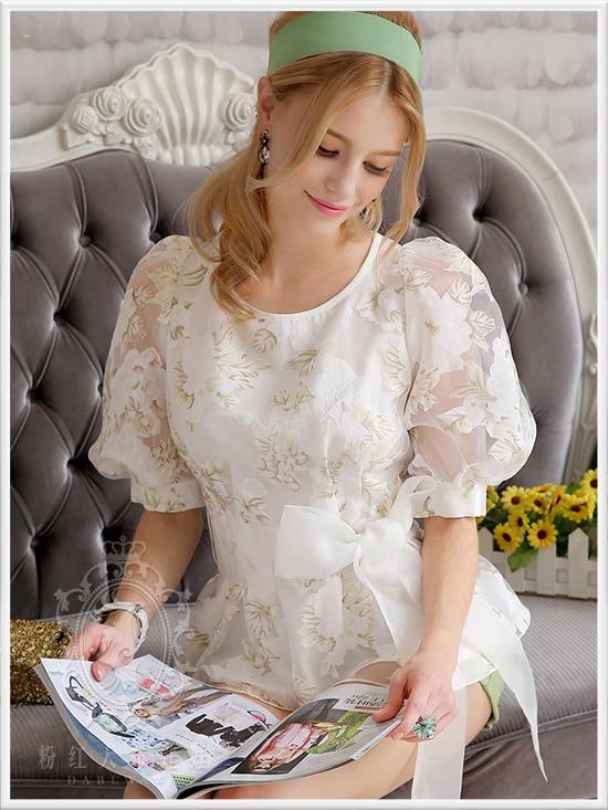 Original 2016 Brand Blusas Autumn Spring Printed Plus Size Slim Casual Elegant Organza font b Women