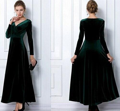For Tall Girl 2015 Women Winter Plus Size M Xl Xxl 3Xl Vintage Maxi Green Blue Casual -6559