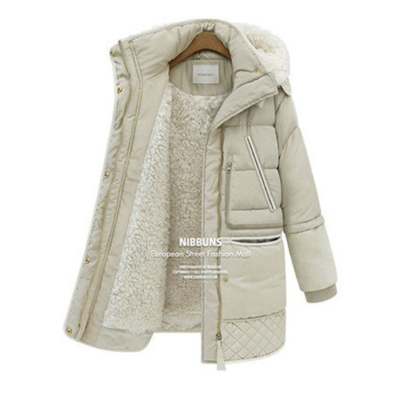 Woman Winter Coats And Jackets Casaco Inverno 2017 New Slim Hooded Long Sleeved Fake Wool Lining Warm Thick Medium Long   Parkas