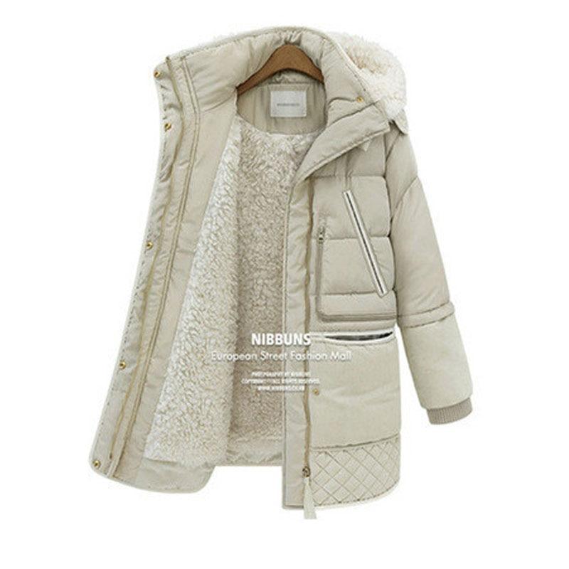 Woman Winter Coats And Jackets Casaco Inverno 2017 New Slim Hooded Long Sleeved Fake Wool Lining Warm Thick Medium Long   Parkas