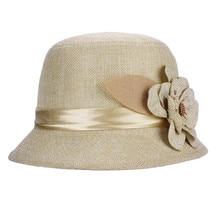 Новинка, модная женская льняная шляпа с цветком, Солнцезащитная шляпа, шляпа от солнца, топ, шляпа для чая, вечерние, свадебные кепки,, casquette femme# pingyou