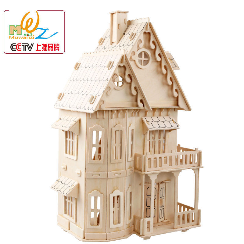US $26 0 50% OFF|Free shipping Gothic House 3D Wooden jigsaw puzzle Kids  wood scale models house puzzle toy children logico teaching AIDS PUZZLE-in