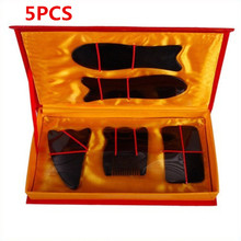 Promotion Price 5pcs Portable Black Chinese Traditional Gua Sha Acupuncture Massage Natural Face Body Health Care Tool Set