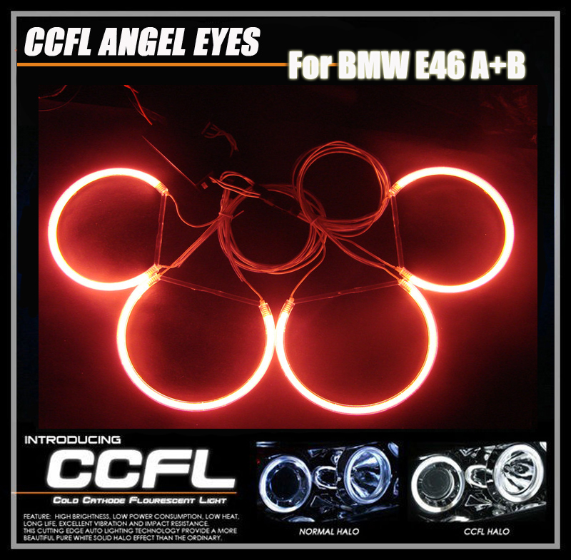 8000K xenon White 4PCS CCFL headlights  Angel Eyes Halo Rings For BMW E46 A+B non-projector Car CCFL auto Lamp with 2 inverters free shipping ccfl angel eyes for bmw e90 e90 non projector halo ring e90 ccfl angeleyes lights