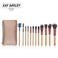 2017 Hot Sprzedaży KAY GARLEY Marka 12 sztuk włosy Syntetyczne Pędzle Do Makijażu Profesjonalny Pędzel Kosmetyczny Zestaw Cieni Do Powiek Eyeliner Mieszania