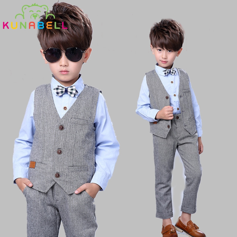 New Children Suit Baby Boys Suits Kids Handsome Vest Shirt Pants Formal Birthday Dress Suit Gentleman Weddings Clothes Set B022 handsome fashion boys suits embroidery children s business suit stand collar performance clothing flower boys gown