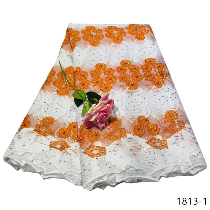 Tissu de dentelle française de haute qualité avec paillettes pêche tissu de tulle africain rose tissus de dentelle nigériane 2017 tissu de dentelle de mariage blanc