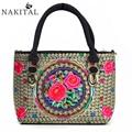 Vintage Canvas Bags Women Totes Embroidery Women Big Shoulder Bag Capacity Hmong Handmade Brand Handbags