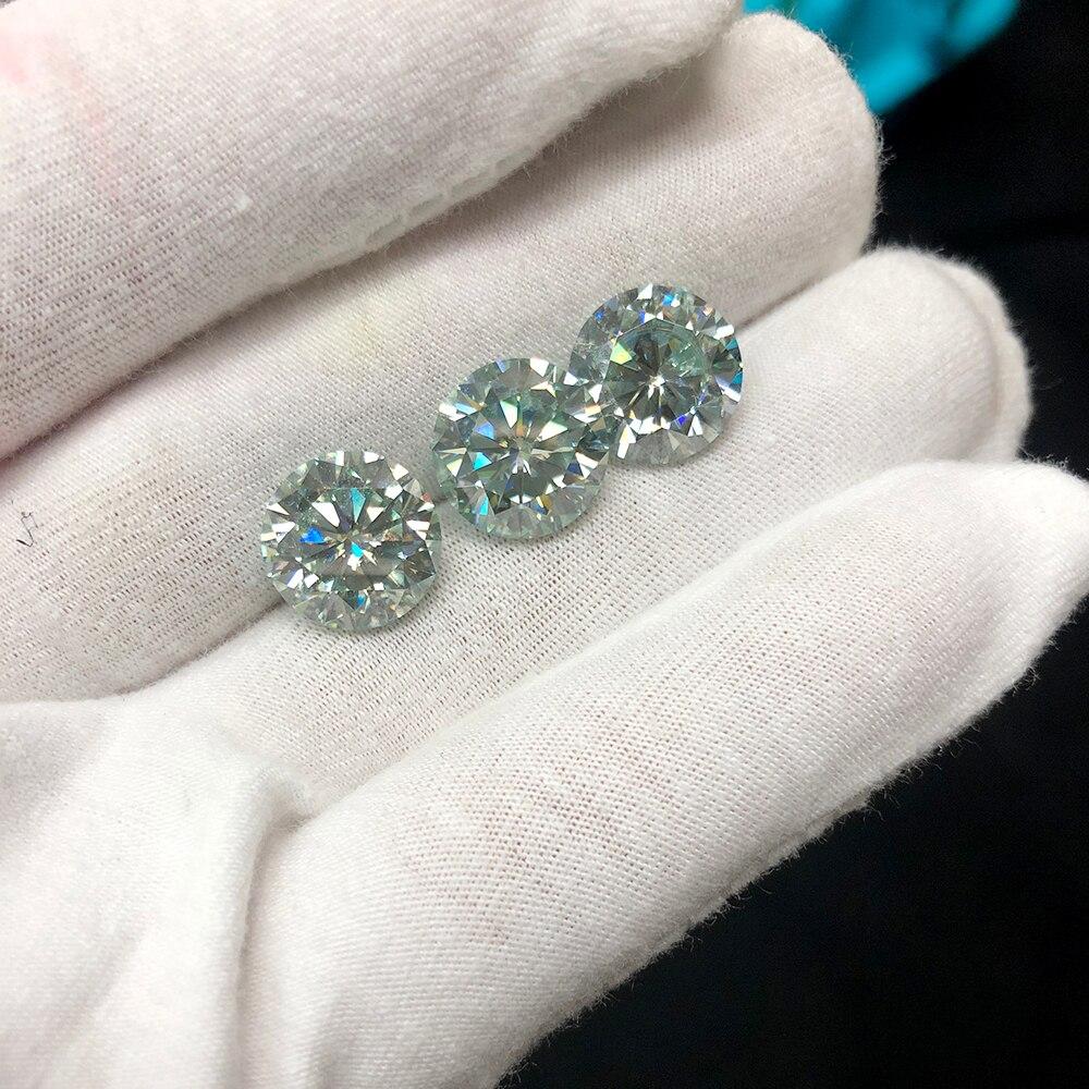 Rond brillant coupe Moissanite 1 Carat 6.5mm léger bleu Test positif laboratoire cultivé diamant pierres précieuses en vrac excellente coupe VVS1